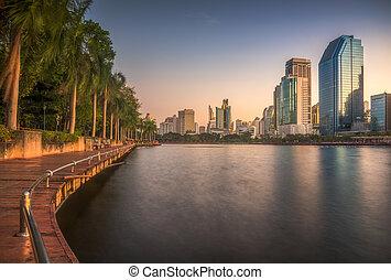 parque, maneira, madeira, lago, cidade, passeio