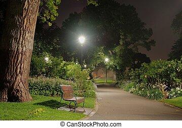 parque, noturna