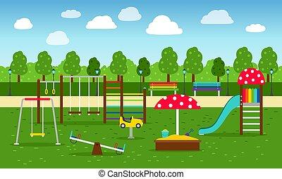parque, pátio recreio, fundo