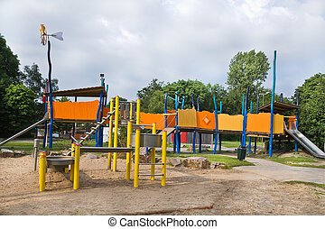 parque público, crianças, pátio recreio
