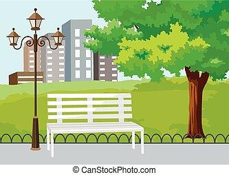 parque, público, vetorial, cidade