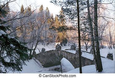 parque, ponte, pedra, antigas, inverno