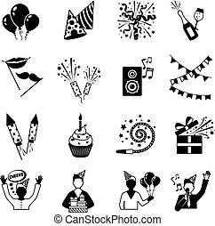 partido, branca, pretas, ícones
