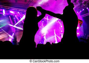 partido., concerto, música discoteca, pessoas