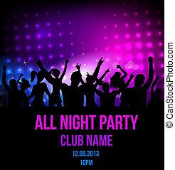 partido, discoteca, fundo, cartaz