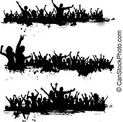 partido, grunge, multidões