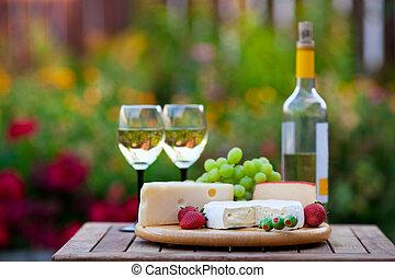 partido, jardim, &, vinho, queijo