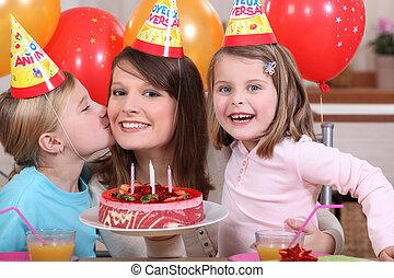 partido, pequeno, aniversário, menina