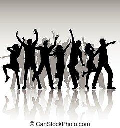 partido, pessoas, dançar