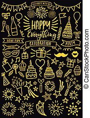 partido, vetorial, doodles, ouro, celebração, jogo