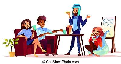 partir, café, vetorial, apresentação, ilustração