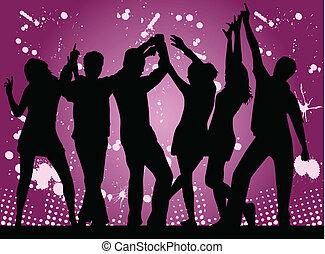 party-, fundo, grunge