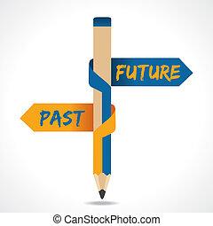 passado, seta, lápis, futuro