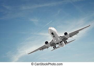 passageiro, avião aterrissa