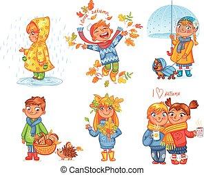 passeio, autumn., amor, ao ar livre