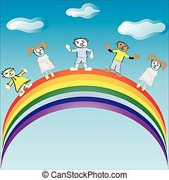 passeio, vetorial, rainbow., illustration., crianças