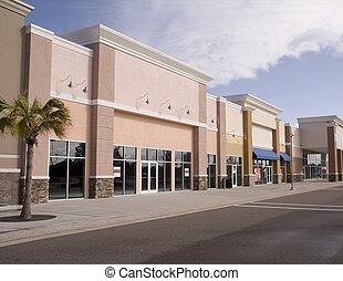 pastel, centro comercial, storefront