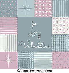 patchwork, valentines, middle., superfície, modelo, dia, sensual
