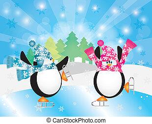 patinação, cena inverno, ilustração, pingüins, gelo, par