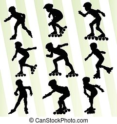 patinação, conceito, vetorial, fundo, rolo, criança