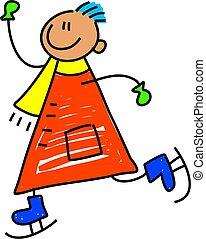 patinação, criança