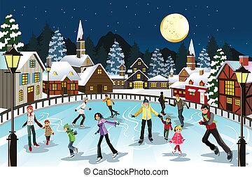 patinação, gelo, pessoas