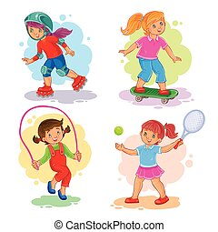 patinação, jogo, ícones, meninas, tênis, corda saltando, tocando
