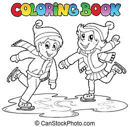 patinação, menino, menina, tinja livro