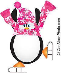 patinação, pirueta, ilustração, pingüim