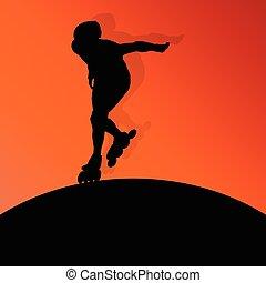 patinação, rolo, conceito, fundo, vetorial