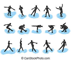patinação, silhuetas, jogo, grunge, figura