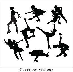patinação, vectors, silueta, figura