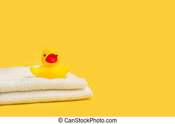pato, amarela, branca, borracha, toalhas, brinquedo