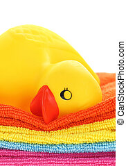 pato borracha, amarela, toalhas, dormir