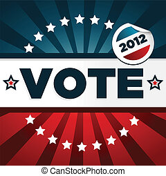 patriótico, cartaz, votando