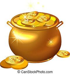 patrick`s, ouro, pote, moedas, st., vetorial, dia