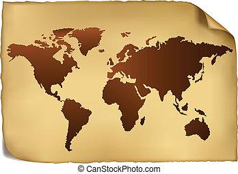 pattern., mapa, mundo, vindima