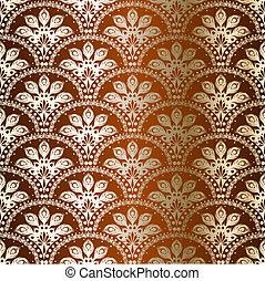 pavão, sari, seamless, bronze, padrão