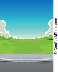 pavimento, parque, fundo, verde