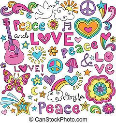 paz, amor, groovy, música, doodles