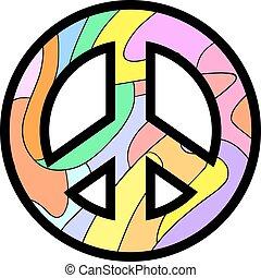 paz, coloridos, ícone