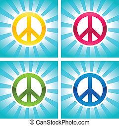 paz, coloridos, sinais