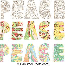 paz, letras, coloridos