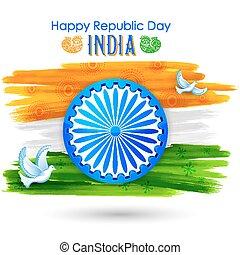 paz, mostrando, voando, tricolor, bandeira, indianas, pomba