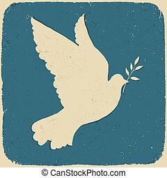 peace., ilustração, eps10., vetorial, retro, denominado, pomba
