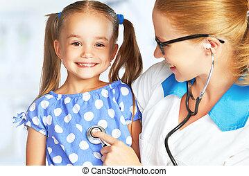 pediatra, criança, doutor, paciente
