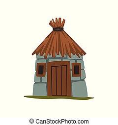 pedra, antigas, casa, ilustração, vetorial, telhado, fundo, colmado, branca