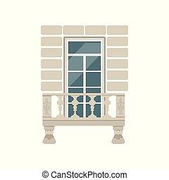 pedra, balusters, ilustração, vetorial, fundo, branca, sacada
