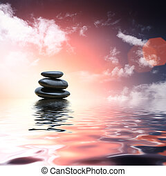 pedras, água, refletir, zen, fundo