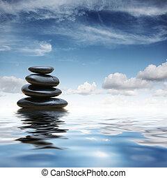 pedras, água, zen
